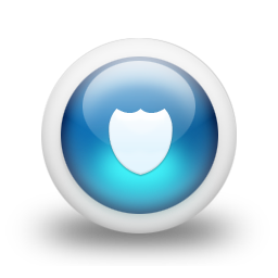Glossy 3d blue shield icon