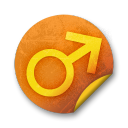 Orange sticker badges 123 icon