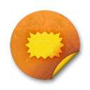 orange sticker badges 148 icon