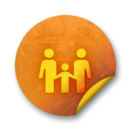 Orange sticker badges 068 icon