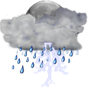 Status weather storm night icon