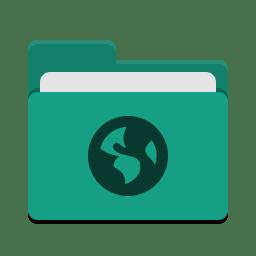 Folder teal network icon