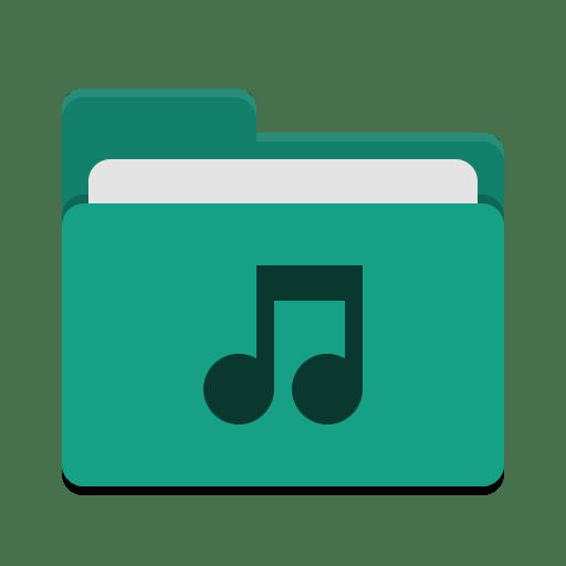 Folder-teal-music icon