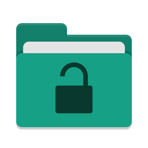 Folder teal unlocked icon