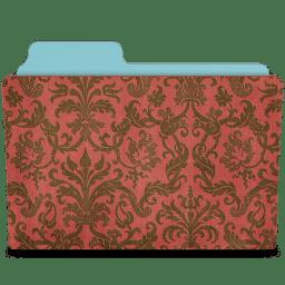 Folder damask crimson icon