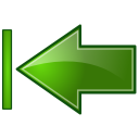 Actions green arrow left end icon