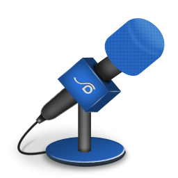 Microphone foam brightblue icon