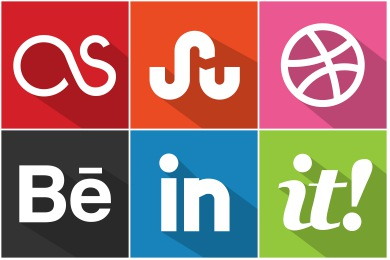 Flat Shadow Social Icons