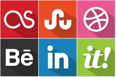 Flat Shadow Social Icons