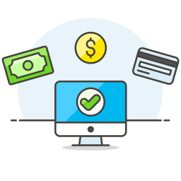 Monitor cash credit card icon