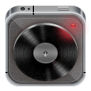 Music player grey metal icon
