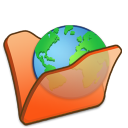 Folder orange internet icon