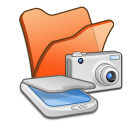 Folder-orange-scanners-cameras icon