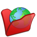 Folder red internet icon