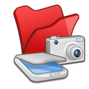 Folder red scanners cameras icon