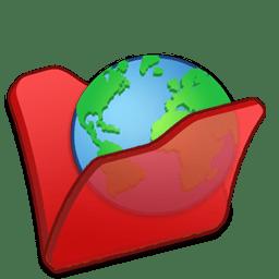 Folder red internet icon