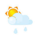 Sun lightcloud rain icon