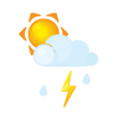 sun littlecloud flash rain icon