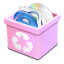 Trash pink full icon