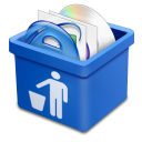 blue trash full icon