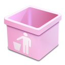 Pink trash empty icon