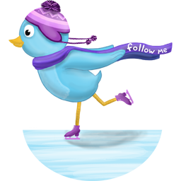 Winter skating follow me icon