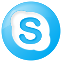 social skype button blue icon