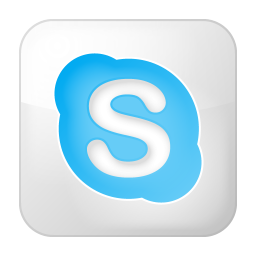 social skype box white icon