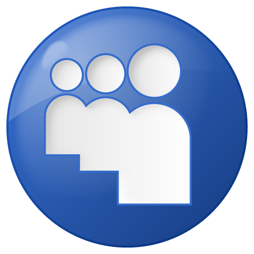 social myspace button blue icon