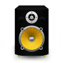Speaker Black Plastic plus Yellow Cone icon