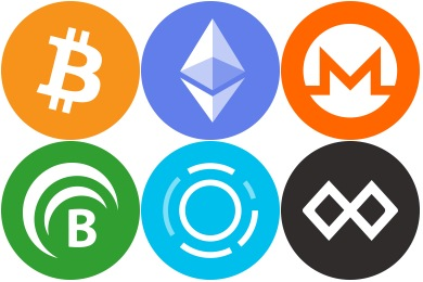 Cryptocurrency Flat Icons