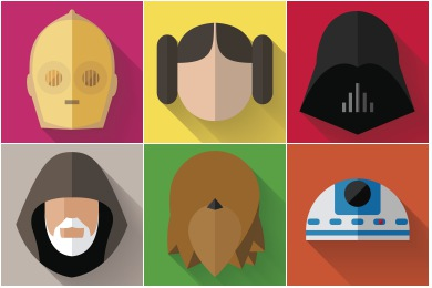 Starwars Longshadow Flat Icons