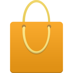 Shopping bag orange icon