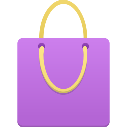 Shopping bag purple icon