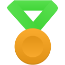 Gold metal green icon