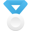 Silver metal blue icon