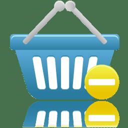 Shopping basket prohibit icon