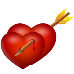 Arrow and hearts icon