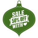 Sale 50 percent off heart green icon