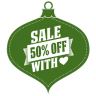 Sale-50-percent-off-heart-green icon