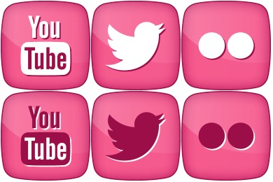 Pink Girly Social Icons