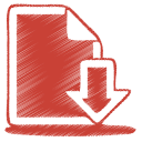 Red document download icon