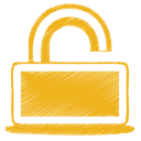 Yellow unlock icon