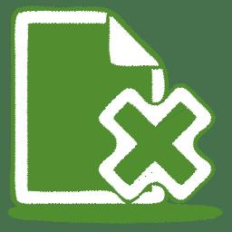 Green document cross icon