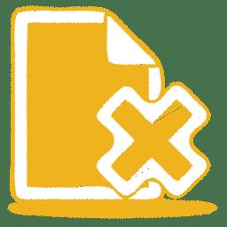 Yellow document cross icon