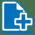 Blue-document-plus icon