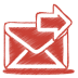 Red-mail-send icon