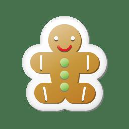 Xmas sticker gingerbread icon