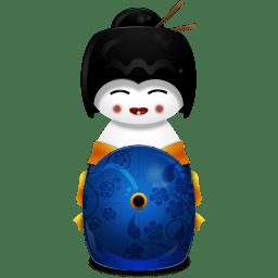 Geisha Japan blue icon