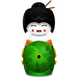 Geisha Japan green icon